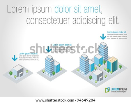 Template for advertising brochure with isometric city - stock vector