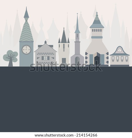 Template for an invitation or card with beautiful castles made in flat style. Vector fairytale illustration. - stock vector