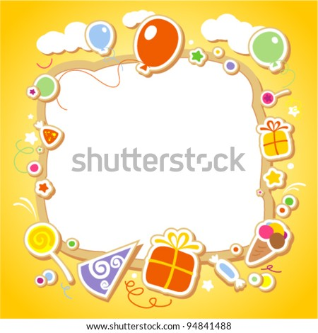 Template for baby's photo album or postcard. - stock vector