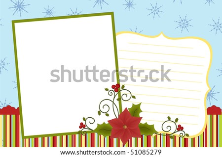 Template for baby's Xmas photo album or postcard (EPS10)
