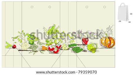 Template for bag with vegetable - stock vector
