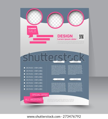 Template for brochure or flyer. Editable A4 poster for business, education, presentation, website, magazine cover. Pink and grey color. - stock vector