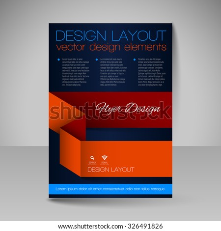Template for brochure or flyer. Editable site for business, education, presentation, website, magazine cover. - stock vector