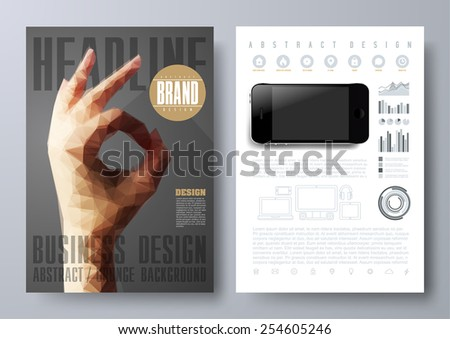 Template for Brochures, Flyers, Posters, Covers or Web Design.  Abstract Modern Background with Triangular Hand in OK Sign. - stock vector