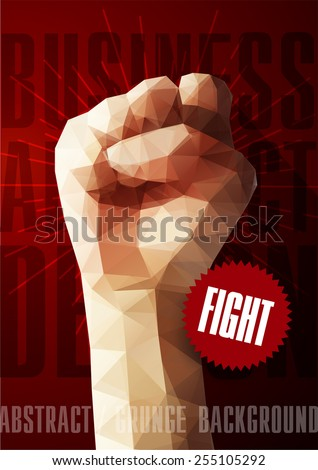 Template for Brochures, Flyers, Posters, Covers or Web Design. Abstract Modern Background with Triangular Fist. - stock vector