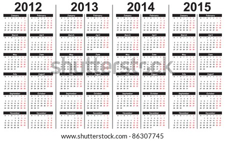 Template for calendar 2012-2015 - stock vector