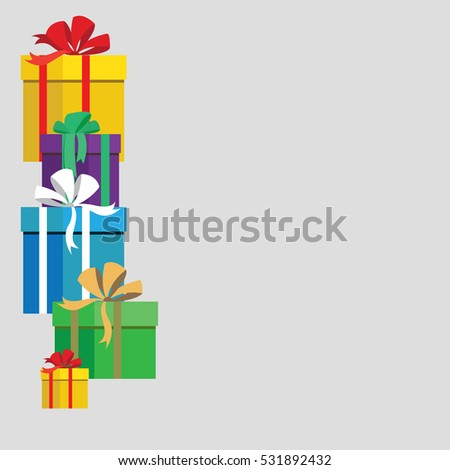 Template for congratulations design gift boxes with bows. Vector illustration