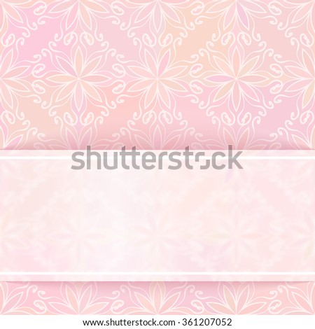 Template for design, Transparent white banner on square ornamental background