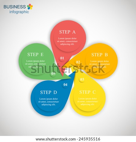 Template for diagram, graph, presentation and chart. Business concept with 5 options, parts, steps or processes. Abstract background.  - stock vector
