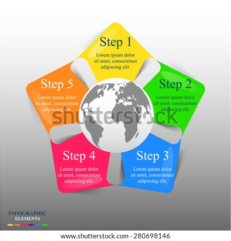 Template for diagram, graph, presentation and chart with 5 options, parts, steps or processes. Vector infographic  - stock vector