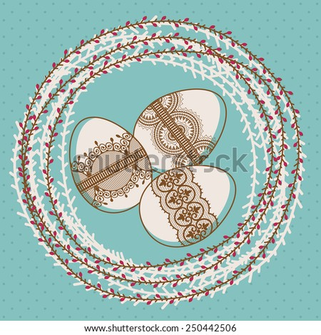 Template for greeting card or invitation. Easter. Eggs in the nest. - stock vector