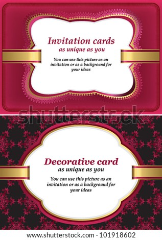 Template for greeting, invitation or similar design card with ornate background