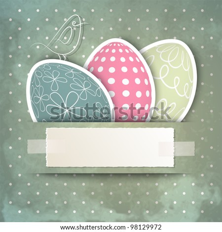 Template for happy Easter card with eggs, bird and copy space - stock vector