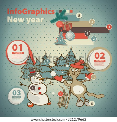 Template for infographic about christmas with with a snowman and cat in vintage style - stock vector