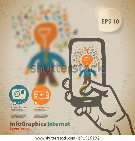 Template for infographic ideas on photo and video content vintage style - stock vector
