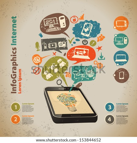 Template for infographic with cell and speech bubbles in vintage style - stock vector