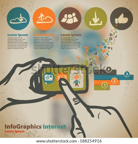 Template for infographic with photos and videos from your smartphone in vintage style - stock vector