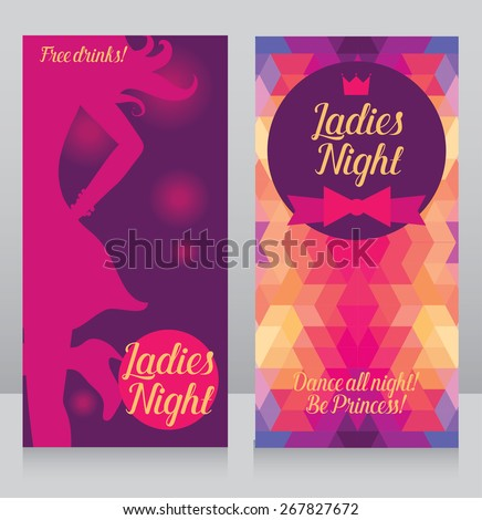 Template Ladies Night Party Invitation Cards Stock Vector - Party invitation template: club party invitation template