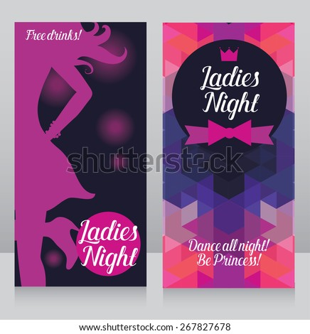Invitation Cards For Ladies Party. Template for ladies night party invitation  cards club with woman s silhouette vector Ladies Night Party Invitation Cards Stock Vector