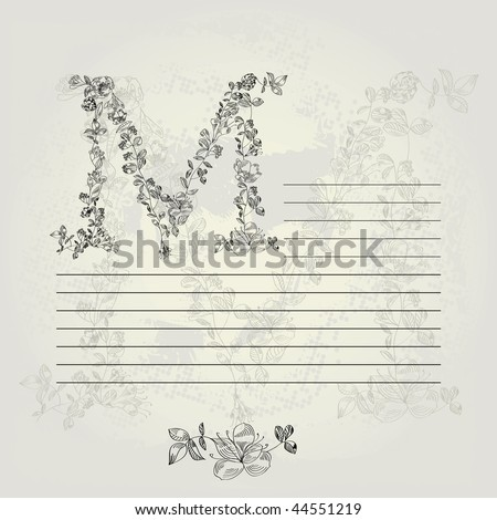 Template for note paper with letter M - stock vector