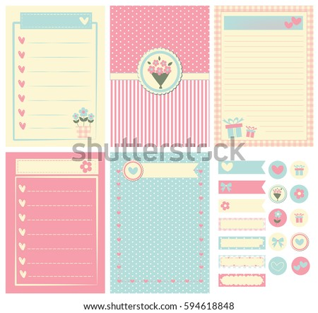 Template Notebook Paper Diary Scrapbook Card Stock Vector 594618848 ...