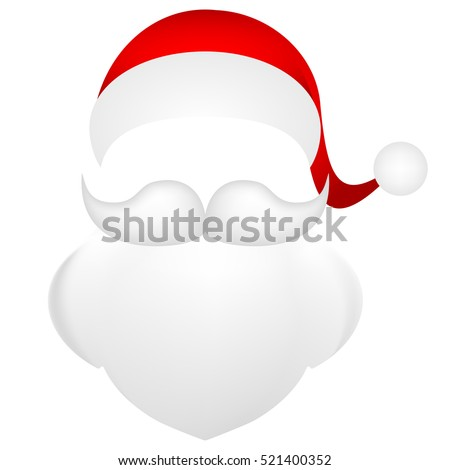 Template for photo mustache with a beard and a cap of Santa Claus