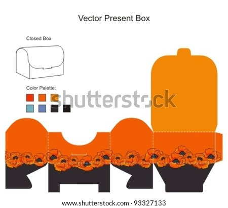 Template for present box with flowers - stock vector