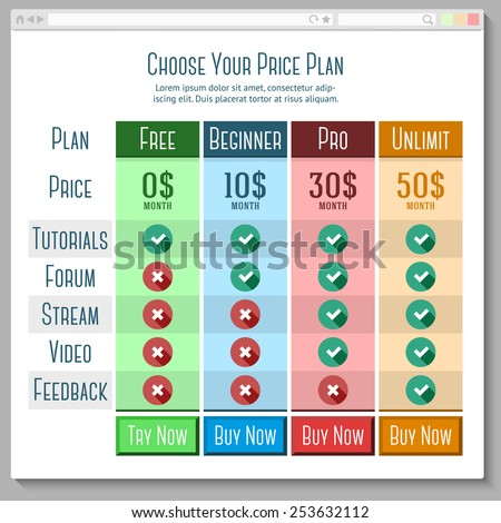 Template for price plans (subscriptions etc.) in flat style with browser window. vector - stock vector