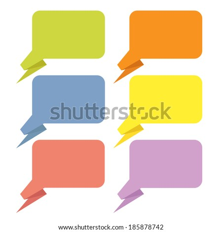 template for text in a bubble in origami style - stock vector