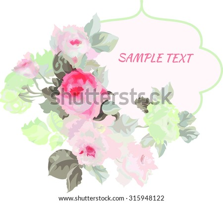 template for the greeting card with roses