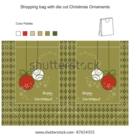 Template for Vector Shopping bag with die cut Christmas Ornaments