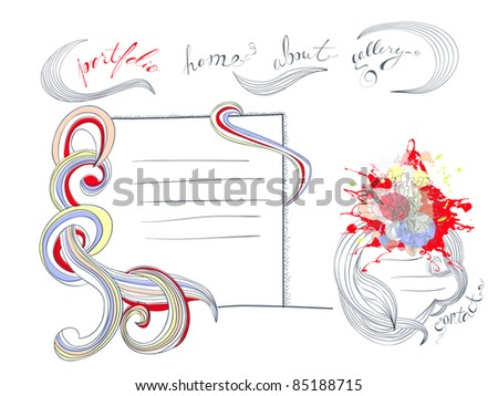 Template for web design with floral element - stock vector