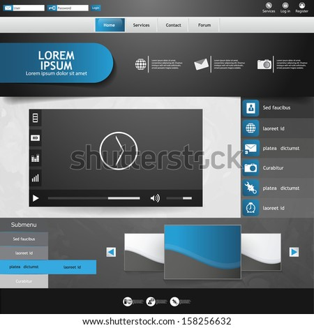 Template for website, eps10 vector with video player  - stock vector