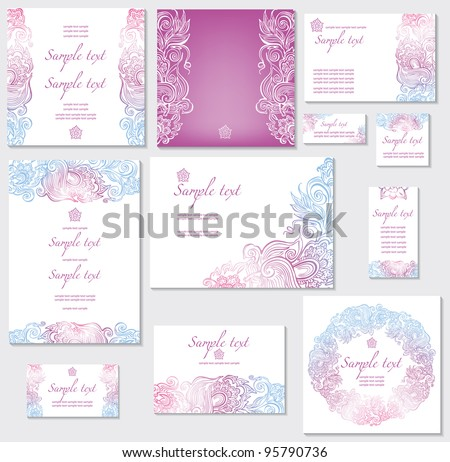 Template for wedding cards - stock vector