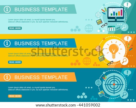 Template for Wesite Headers. Flat Design Concept. Set of Vector Web Banners. About us, Our Mission, Business Strategy