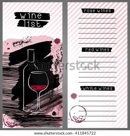 Template for wine list or wine tasting. Wine bar menu card in grunge style. Design concept with wine bottle and glass.  - stock vector