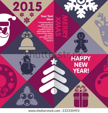 Template for Xmas and New Year  - stock vector