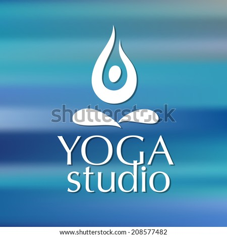 Template for yoga studios emblem - a symbol of man in lotus position. Vector picture. - stock vector