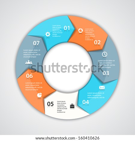 Template for your business presentation with circle arrows and text areas (info graphic) - stock vector