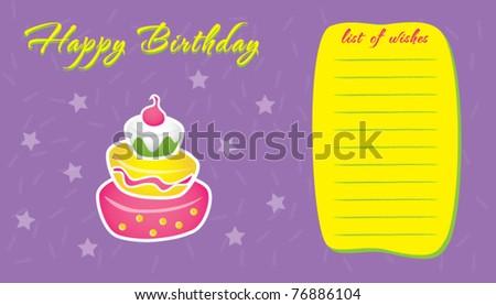 Template Frame Design For Birthday Wish List, Vector Illustration  Birthday Wish Template