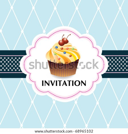 Template frame with cupcake - stock vector
