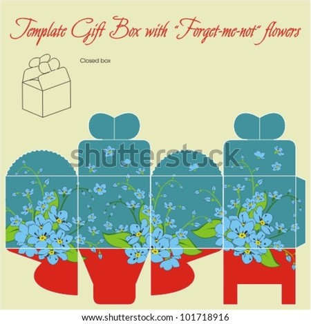 Template gift box for wedding favors. Forget-me-not flowers bouquet. - stock vector
