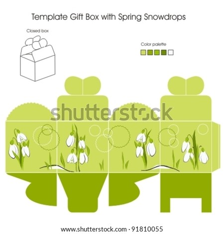 Template gift box with Spring Snowdrop flowers - stock vector