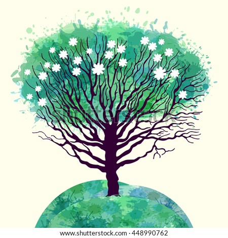 Template greeting card or banner with a tree. Spring or summer. Seasons - stock vector