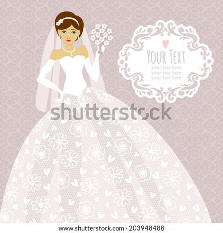 Template Greeting Card Wedding Invitation Bride Stock Vector (2018 ...