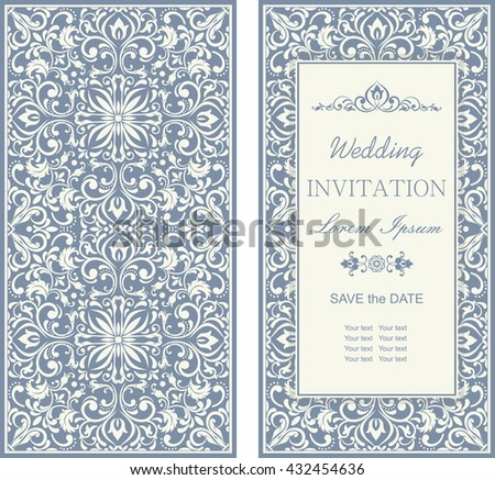 Template greeting cards, invitations and advertising banners, brochures with space for text. Vintage Invitation or wedding card with damask pattern  and elegant floral elements in blue and grey