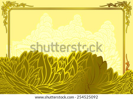 Template greeting message. Abstract floral motif by wavy pattern for background with gold elements. - stock vector