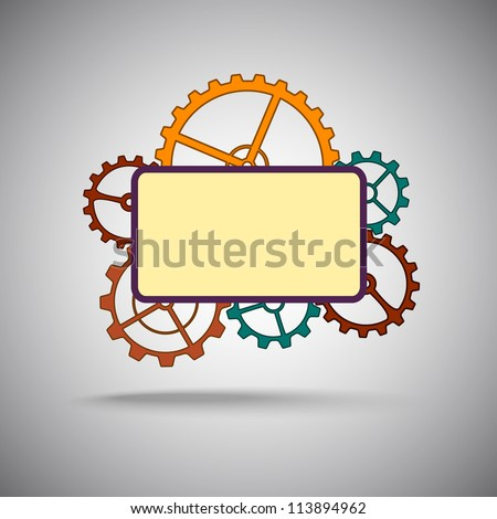 Template. Group of colored gears. Vector graphics.