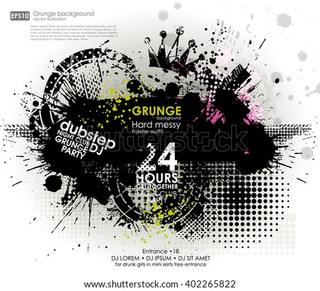 Template grunge poster for party.  Grunge banner with an inky dribble strip with copy space - stock vector