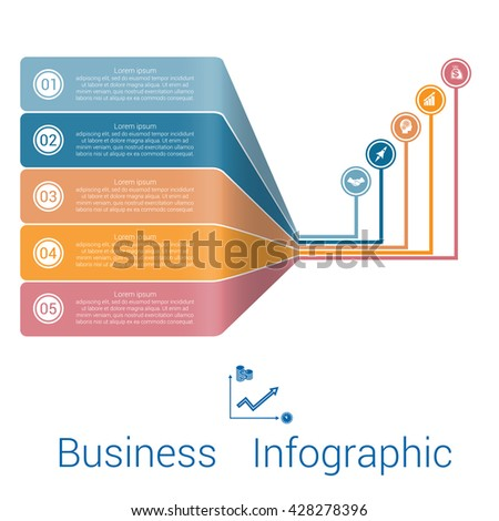 Template Infographic Lines Strips Perspective five position.  - stock vector